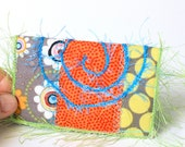 Business Card Holder - ID, Reward Card, Mini Wallet -  Yellow and Grey Polka Dots with Bright Orange