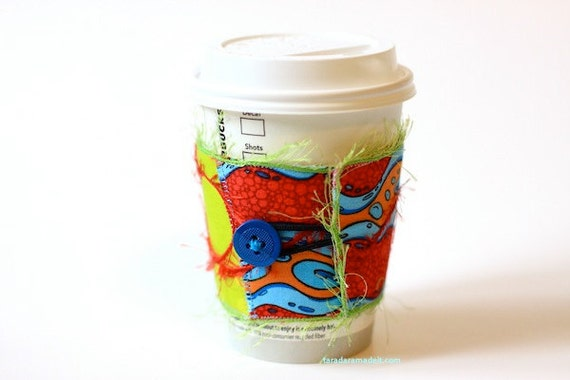 Eco Friendly Reusable Coffee Cup Cozy -  Red, Lime Green, Orange, and Bright Blue