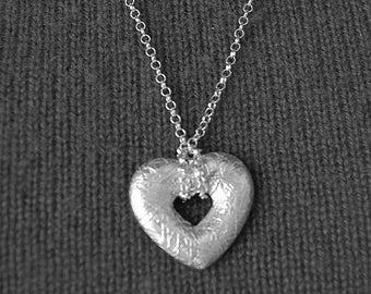 Sterling Silver Heart Necklace, Elegant heart necklace, silver pendant, Extra long silver chain, heart charm