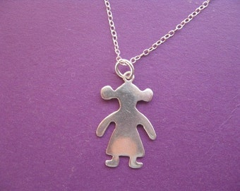Girl Child Charm Necklace, Sterling Silver Child Pendant, Children Jewelry