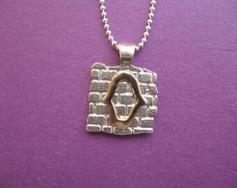 Gold Hamsa Necklace, Jewish Hamsa Necklace, Kotel Charm, Judaica Necklace, Jerusalem Wall Gold Hamsa Necklace Silver Pendant