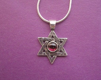 Traditional Garnet Star of David Necklace Sterling Silver Hammered