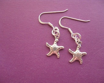 Silver Starfish Earrings, Starfish Charm, Beach Jewelry, Dangle Earrings, Teenager Jewelry, Silver Earrings, Childrens Jewelry