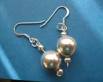 Ball Earrings, Sterling Silver Ball Earrings,  Dangle Drop Earrings, Ball Jewelry, Elegant Earrings, Minimalist Earrings