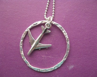Airplane Necklace Charm Friendship Circle Silver Pendant