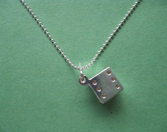 Dice Charm Necklace, Sterling Silver Charm with Silver chain Necklace
