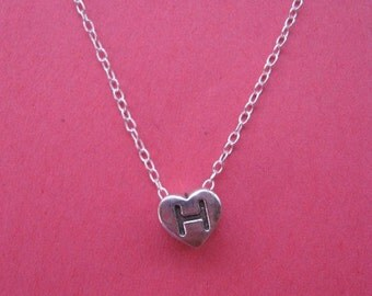 Initial H Heart Necklace, Personalized Charm, Heart pendant, Personalized Gift, Childrens Jewelry