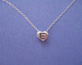 Personalized Necklace Heart Initial E Necklace Silver