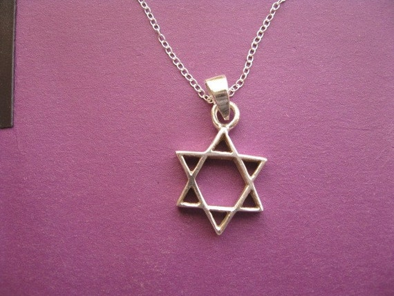 Sterling Silver Star of David Necklace, Classic Unisex Judaica Star of David Necklace Silver