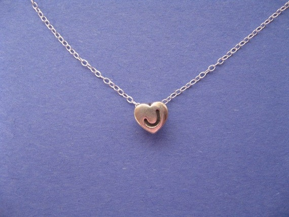 initial j charm necklace silver charm necklace by