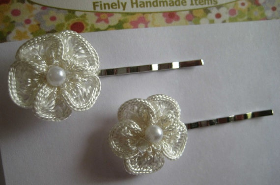 Unique Set of  Crochet Pearl Hair Bobby Pins