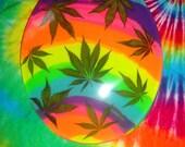 "REAL Marijuana Leaf Toilet Seat - The Original ""The Pot Pot"" in Neon Rainbow Swirl - As Seen On Regretsy.com"