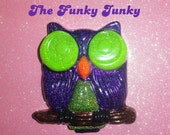 Resin Glitter Owl Wall Hanging - Purple, Lime Green, Orange, and Yellow with Glow in the Dark Eyes - by thefunkyjunky on etsy.com