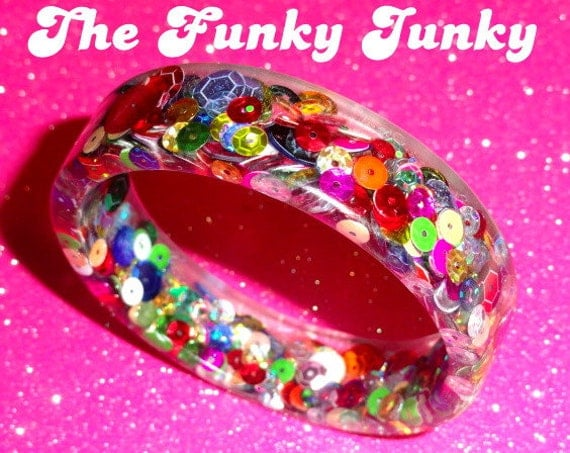 Rainbow Sequins Resin Bangle Bracelet by thefunkyjunky