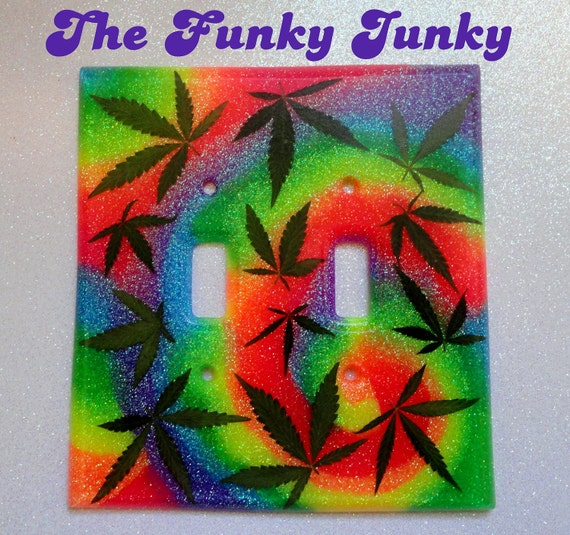REAL MARIJUANA LEAF Double Light Switch Cover - Psychedelic Tie Dye Swirl - Neon Rainbow Glitter Resin