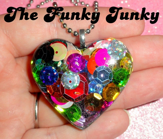 Rainbow Sequins Resin Heart Pendant Necklace by thefunkyjunky
