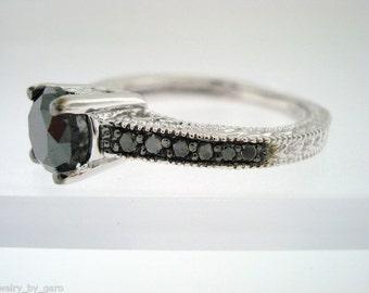 Fancy Black Diamonds Engagement Ring 14K White Gold 0.75 Carat Certified Vintage Antique Style Engraved Pave Set