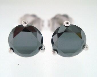 4.00 Carat Fancy Black Diamonds Martini Stud Earrings 14K White Gold Handmade Certified