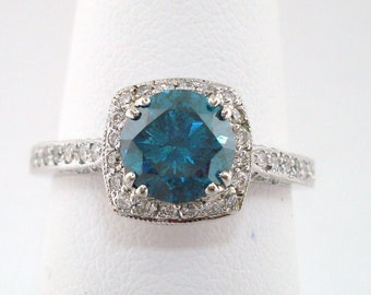 Blue Diamond Engagement Ring 1.14 Carat 14K White Gold Handmade Certified Micro Pave