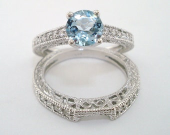 Aquamarine & Diamond Engagement Ring And Wedding Anniversary Band Sets Antique Style Engraved 14K White Gold 1.12 Carat Handmade