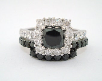 Princess Cut  Black And White Diamonds Engagement Ring & Wedding And Anniversary Band Sets  3.11 Carat  14K White Gold