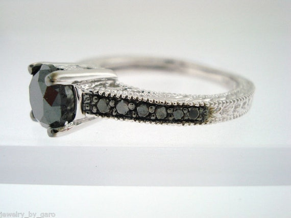Fancy Black Diamonds Engagement Ring 14K White Gold 0.75 Carat Certified Vintage Antique Style Engraved Pave Set