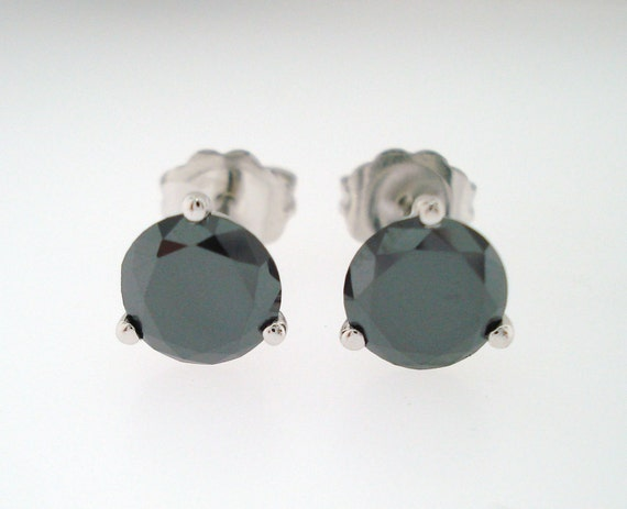 1.50 Carat Fancy Black Diamond Martini Stud Earrings 14K White Gold  HandMade Earrings