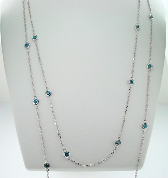 """1.05 Carat  36"""" Inch Blue Diamond By The Yard Necklace 14k White Gold handmade"""
