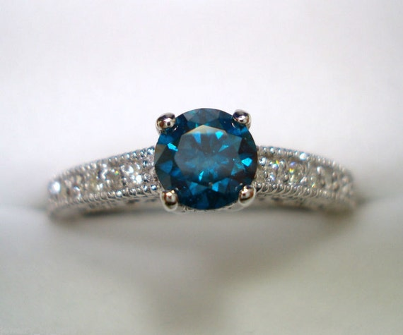 Fancy Blue & White Diamond Engagement Ring 14K White Gold 0.61 Carat Antique Vintage Style Engraved Certified Handmade