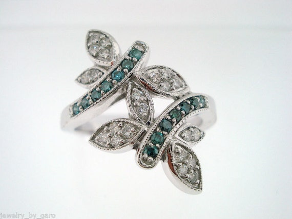 Butterfly Blue & White Diamonds Cocktail Ring 14K White Gold 0.40 Carat Pave Set handmade
