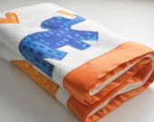 Organic Elephant Baby Blanket in Orange and Blue -- Personalized Free