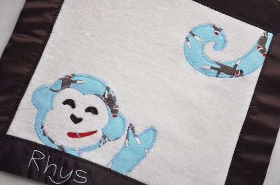 Organic Lovie Blanket for Baby Boy-- Personalized Free for Your Little Monkey