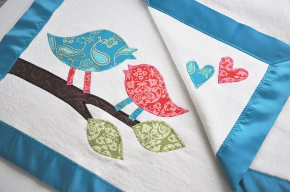 RESERVED --Organic Girls Baby Blanket with Retro Birds - Personalized Free - Toddler Size