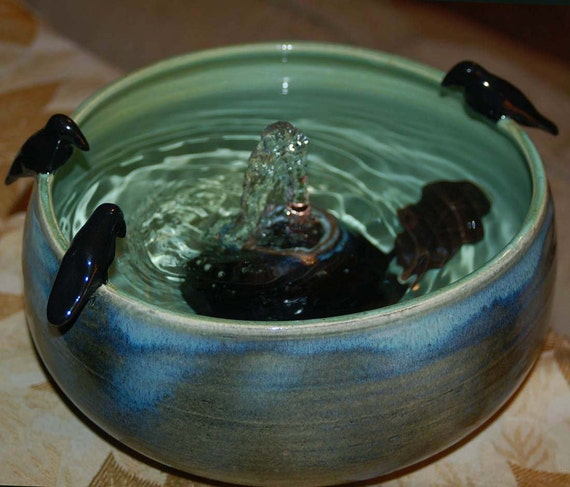 3 Crows On A Fountain  -   Handmade Ceramic Cat Fountain or Tabletop Fountain