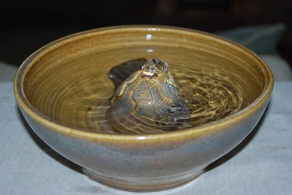 "Handmade Food-safe  Ceramic Cat Fountain, ""Honey Blend Blue """