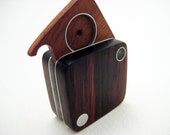 Modern Wood Locket, Pendant, OOAK, Unisex, Men - Simple Square