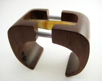 Carved, Wood Bracelet / Cuff with Stone and Aluminum Accents (No. 12)