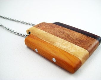 Handmade wood pendant with aluminum accents, stainless steel chain (a study in brown)