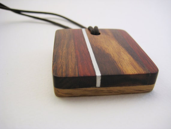 Handmade Wood Pendant with Aluminum Accents - Left of Red