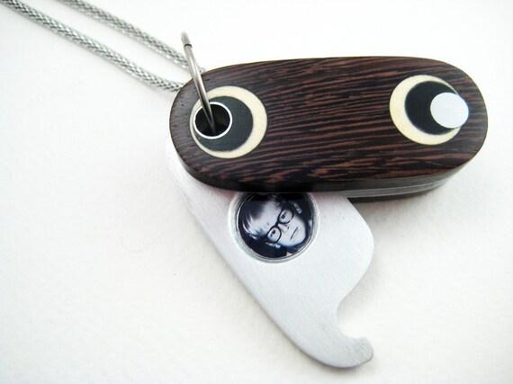 Unique Locket, Wood, Ooak, handmade, unisex, aluminum, pendant, The Oval