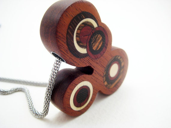 Inlaid Wood Pendant, Modern, ooak, retro, carved (Bubbles)
