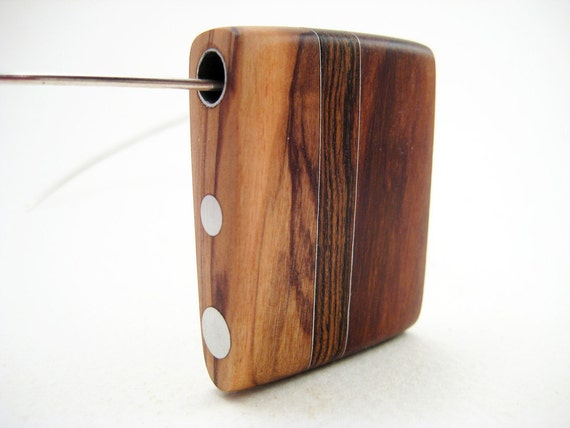 Wood pendant necklace, modern, unique, sterling silver neckwire, Trinity