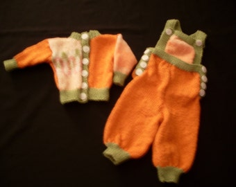 Hand knit girl's overalls and cardigan sweater