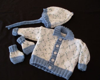 Hand knit boy's sweater set with hat and booties