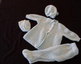 Hand knit pastel green infant set