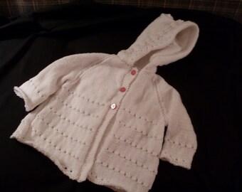 Hand knit girl's white hoodie cardigan
