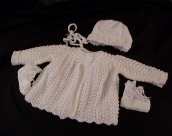 Hand knit infant girl's white matinee coat with bonnet and booties