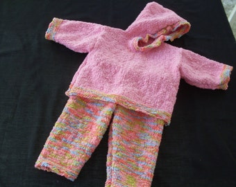 Hand knit girl's hoodie and pants set