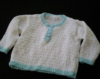 Hand knit girl's white and aqua 4-button pullover