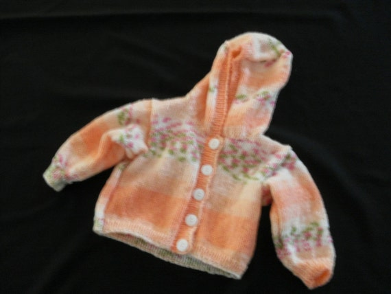 Hand Knit Infant girl's variegated hoodie cardigan